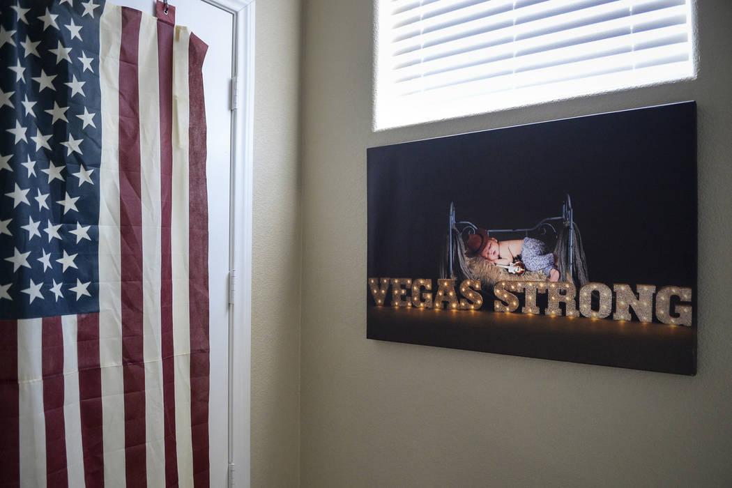 "A portrait of Wyatt, which hangs in the Matheson home, went viral shortly after it was taken a year ago, causing many to call Wyatt the ""Vegas Strong Baby"" in Las Vegas, Sunday, Sept. 30, 2018. C ..."