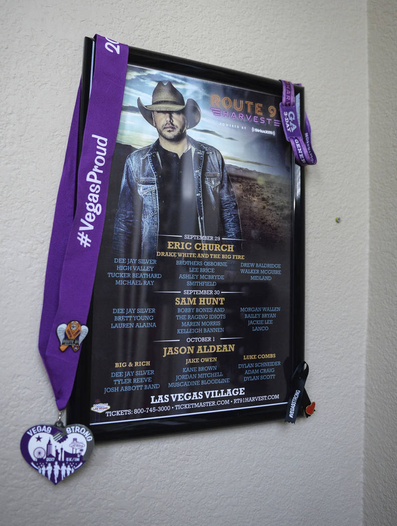 A concert poster from the Route 91 Harvest country music festival in 2017 hangs in the Matheson home in Las Vegas, Sunday, Sept. 30, 2018. Caroline Brehman/Las Vegas Review-Journal
