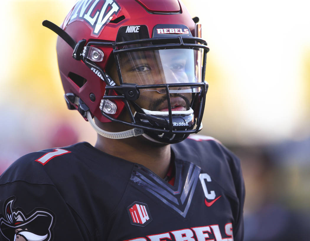 UNLV Rebels quarterback Armani Rogers (1) while warming before a football game against Prairie View A&M Panthers at Sam Boyd Stadium in Las Vegas on Saturday, Sept. 15, 2018. Chase Stevens Las ...