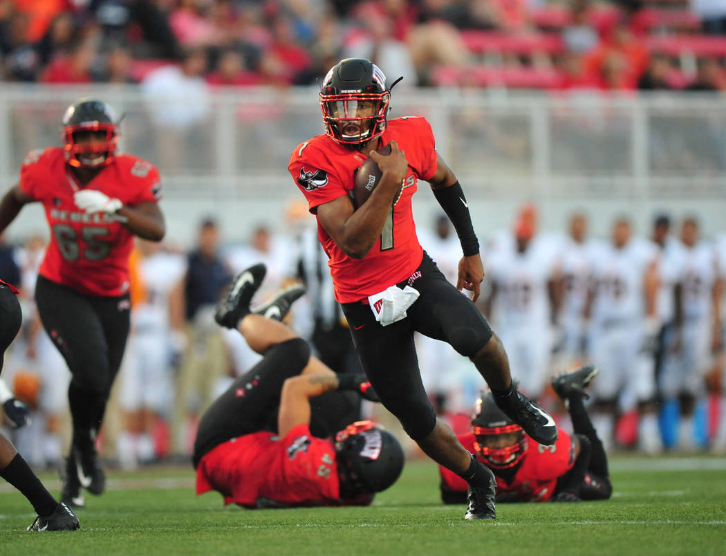 UNLV Rebels quarterback Armani Rogers (1) carries the ball during a game against the UTEP Miners at Sam Boyd Stadium in Las Vegas on Saturday, Sept. 8, 2018. UNLV leads at halftime 38-10. Brett Le ...