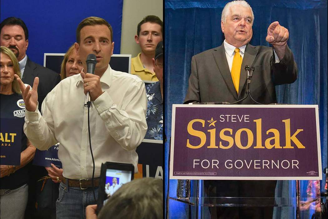 Republican Adam Laxalt, left, and Democrat Steve Sisolak are running for governor in Nevada. (Las Vegas Review-Journal)