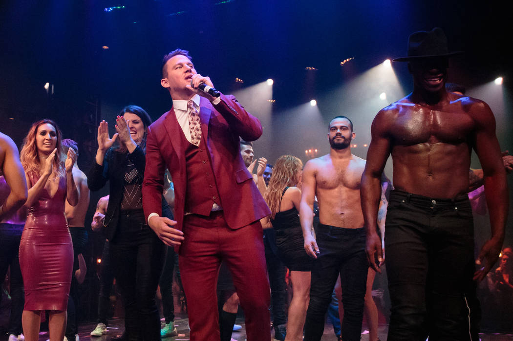 """Channing Tatum thanks the audience during the grand opening of """"Magic Mike Live"""" at The Hard Rock Hotel on Friday, April 21, 2017, in Las Vegas. (Erik Kabik)"""