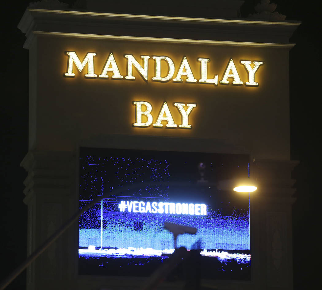 The marquee at Mandalay Bay hotel-casino displays a #VegasStronger message on the anniversary of the 1 October shooting in Las Vegas, Monday, Oct. 1, 2018. Erik Verduzco/Las Vegas Review-Journal