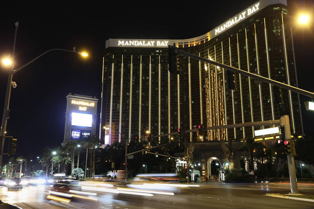 Mandalay Bay hotel-casino on the anniversary of the 1 October shooting in Las Vegas, Monday, Oct. 1, 2018. Erik Verduzco/Las Vegas Review-Journal