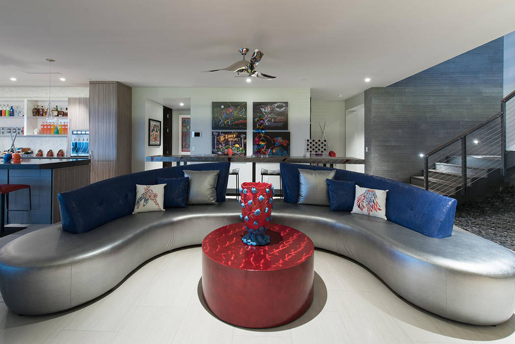 The four-level home features a game room. (Simply Vegas)