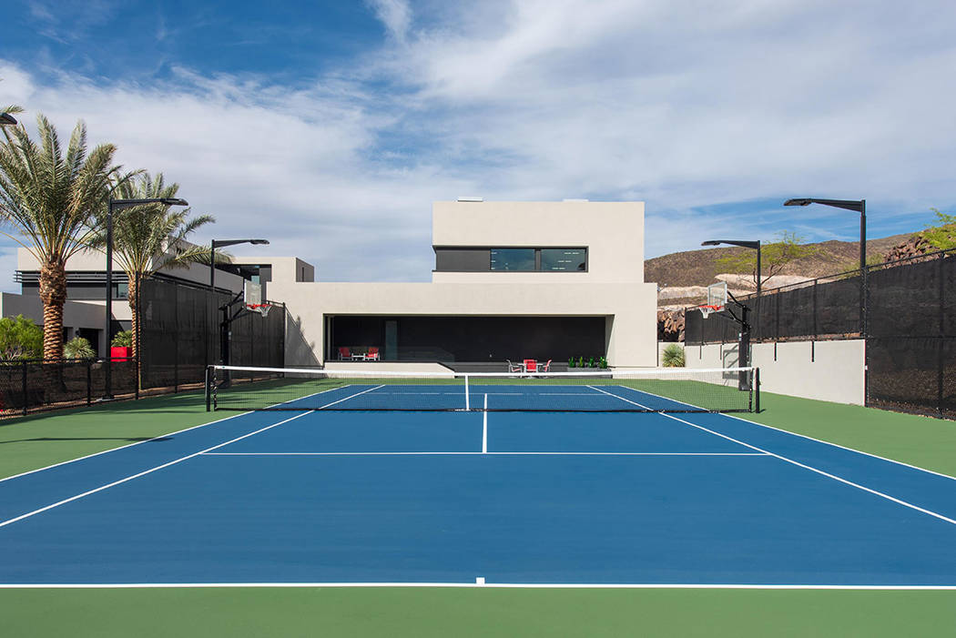 The outdoor tennis court. (Simply Vegas)