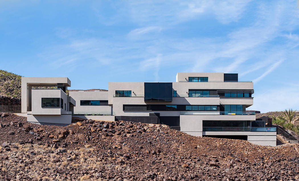 The 16,000-square-foot home has a modern design. (Simply Vegas)
