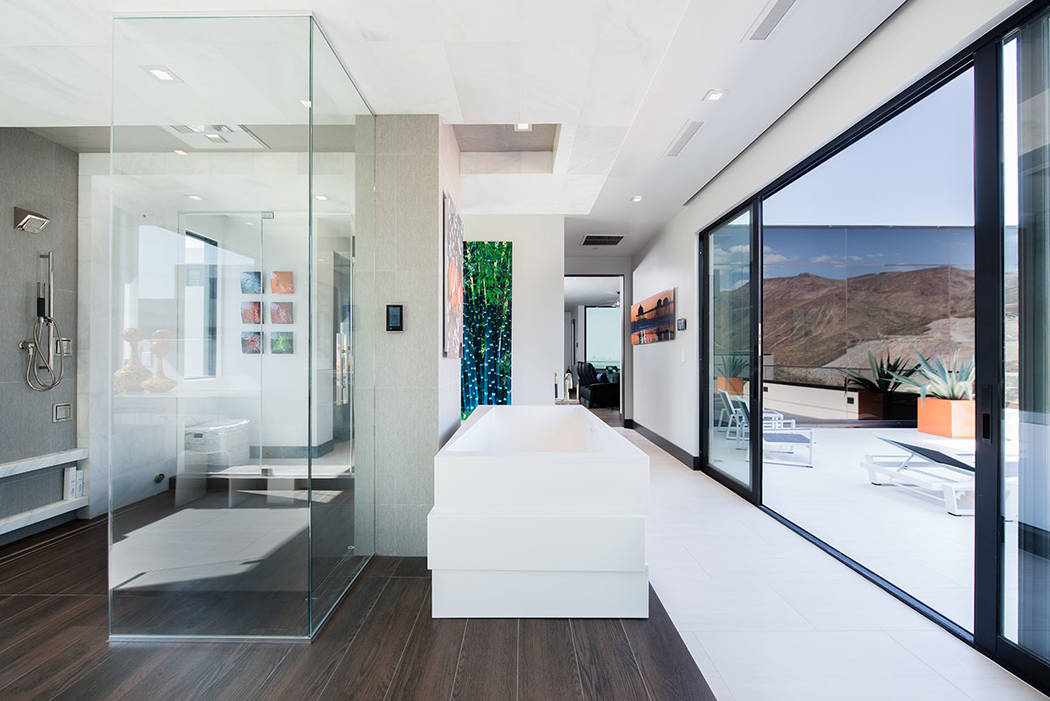The master bath opens to a patio. (Simply Vegas)