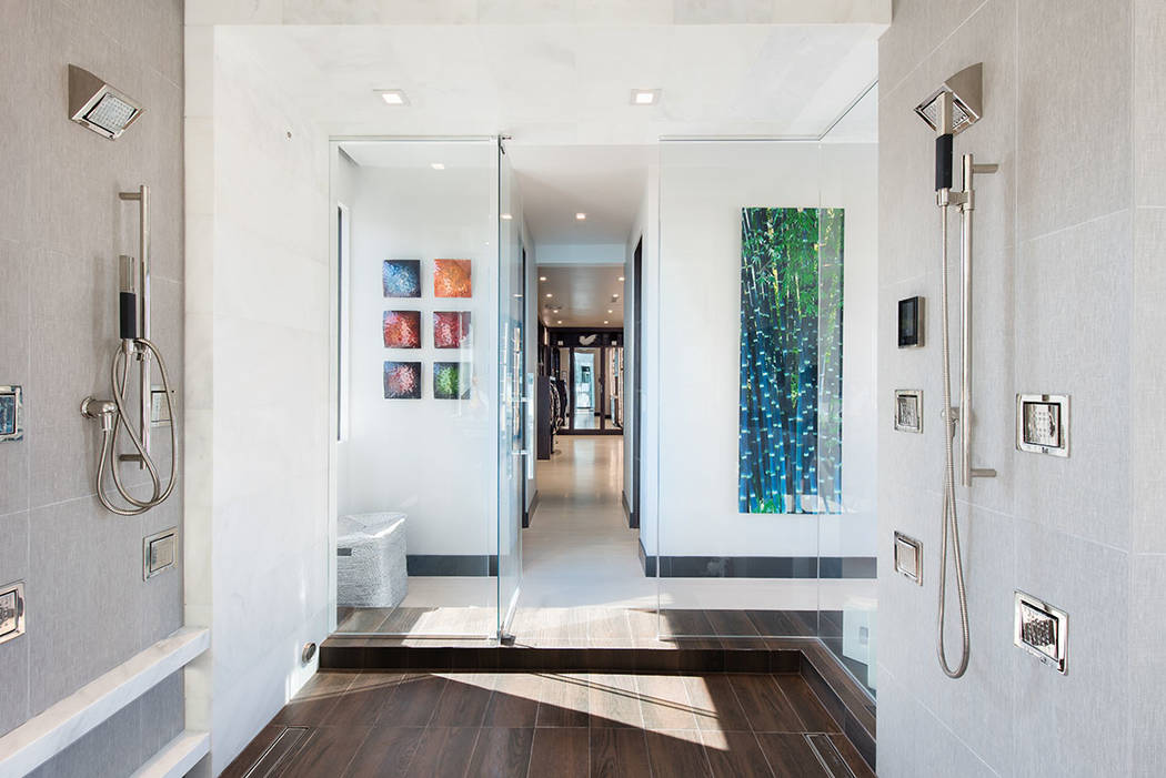 The master bath features a large shower. (Simply Vegas)