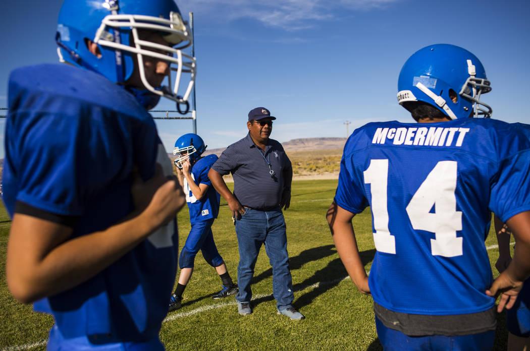 Football coach Richard Egan leads practice at McDermitt High School in McDermitt on Tuesday, Sept. 25, 2018. Chase Stevens Las Vegas Review-Journal @csstevensphoto