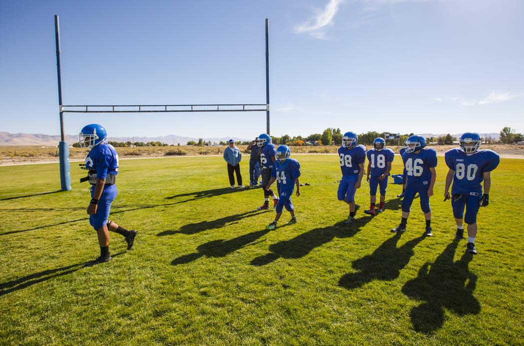 Football players during practice at McDermitt High School in McDermitt on Tuesday, Sept. 25, 2018. Chase Stevens Las Vegas Review-Journal @csstevensphoto