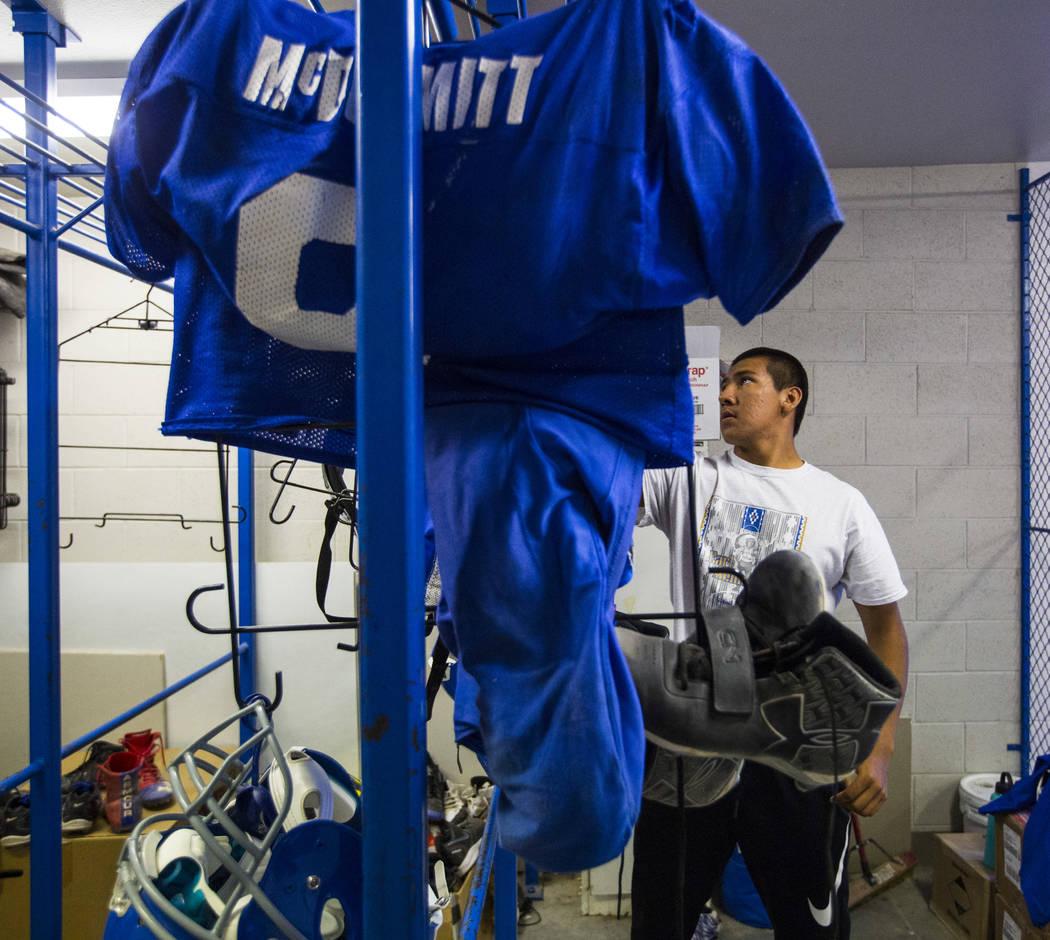 Quarterback Jagger Hinkey get ready for practice at McDermitt High School in McDermitt on Tuesday, Sept. 25, 2018. Chase Stevens Las Vegas Review-Journal @csstevensphoto