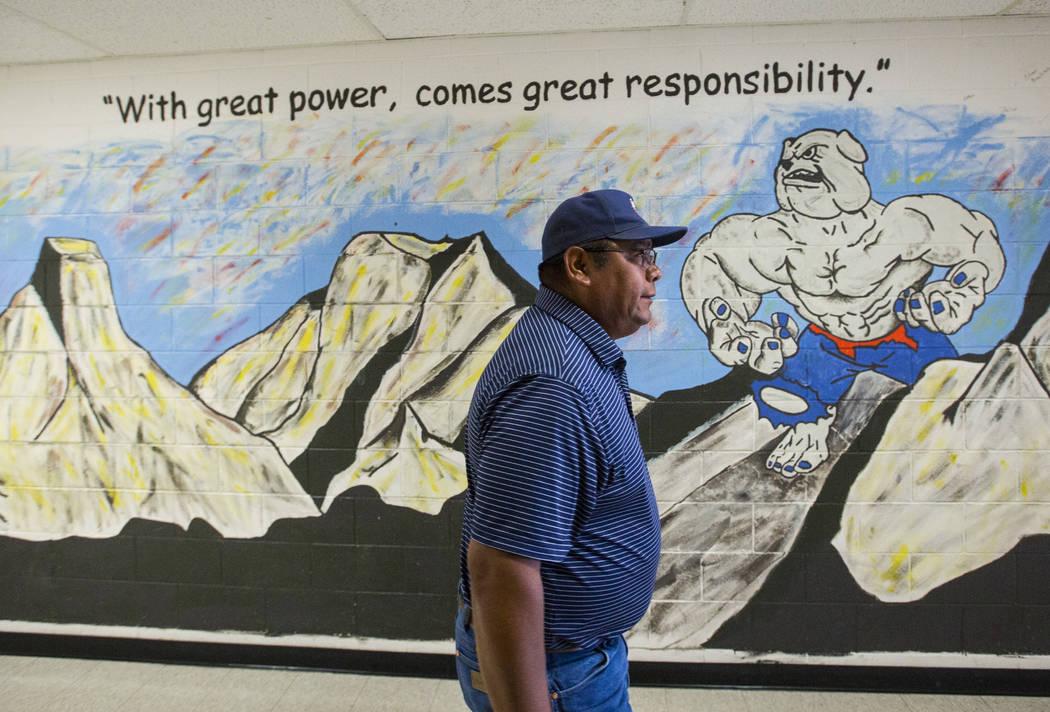 McDermitt football coach Richard Egan before practice at the high school in McDermitt on Tuesday, Sept. 25, 2018. Chase Stevens Las Vegas Review-Journal @csstevensphoto