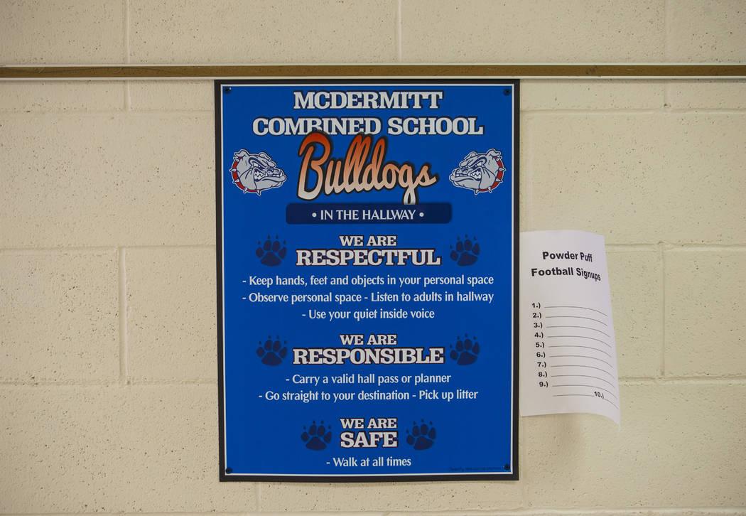 A poster at McDermitt High School in McDermitt on Tuesday, Sept. 25, 2018. Chase Stevens Las Vegas Review-Journal @csstevensphoto