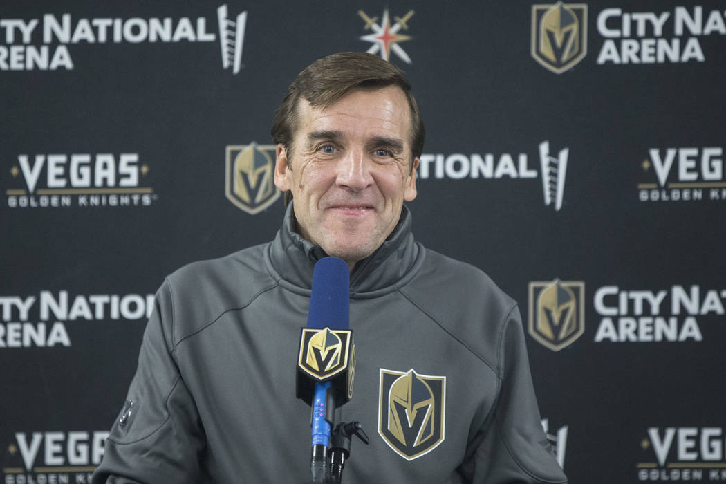 Golden Knights general manager George McPhee takes questions during a press conference after practice on Wednesday, Oct. 3, 2018, at City National Arena, in Las Vegas. Benjamin Hager Las Vegas Rev ...