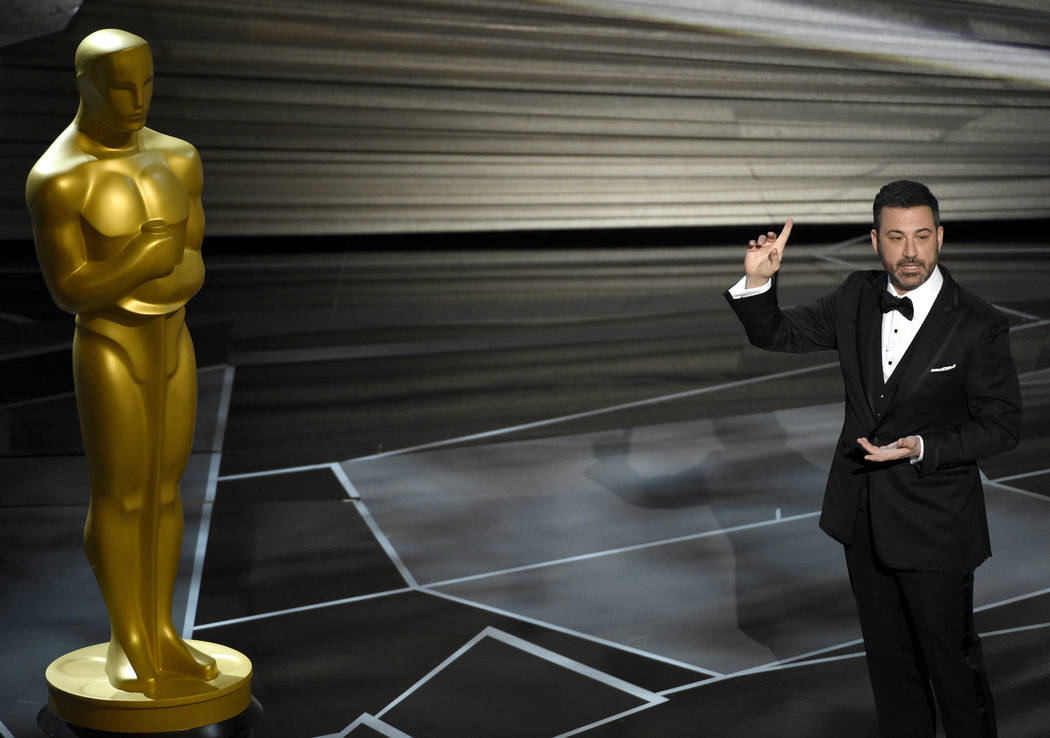 Host Jimmy Kimmel speaks at the Oscars on Sunday, March 4, 2018, at the Dolby Theatre in Los Angeles. (Chris Pizzello/Invision/AP)