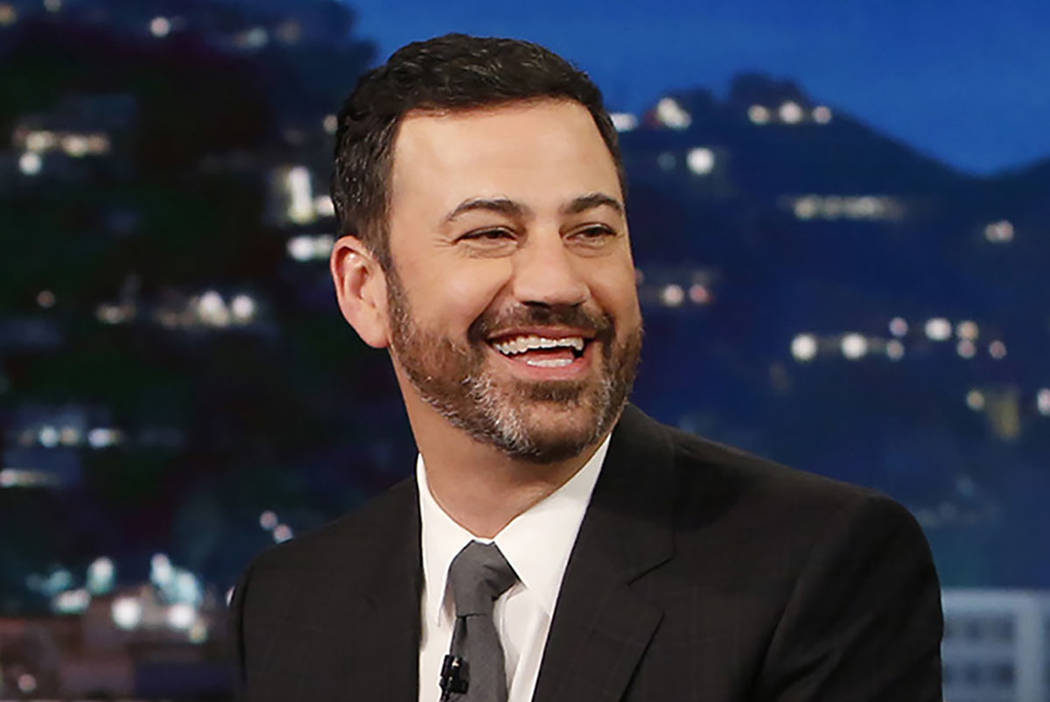 "Host Jimmy Kimmel appears during ""Jimmy Kimmel Live"" in Los Angeles. (Randy Holmes/ABC via AP)"
