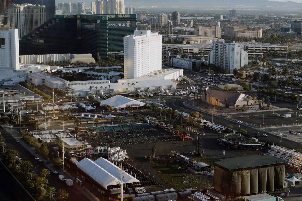 FILE - In this Oct. 3, 2017, file photo, debris litters a festival grounds across the street from the Mandalay Bay resort and casino in Las Vegas. A panel of federal judges has denied a request fr ...