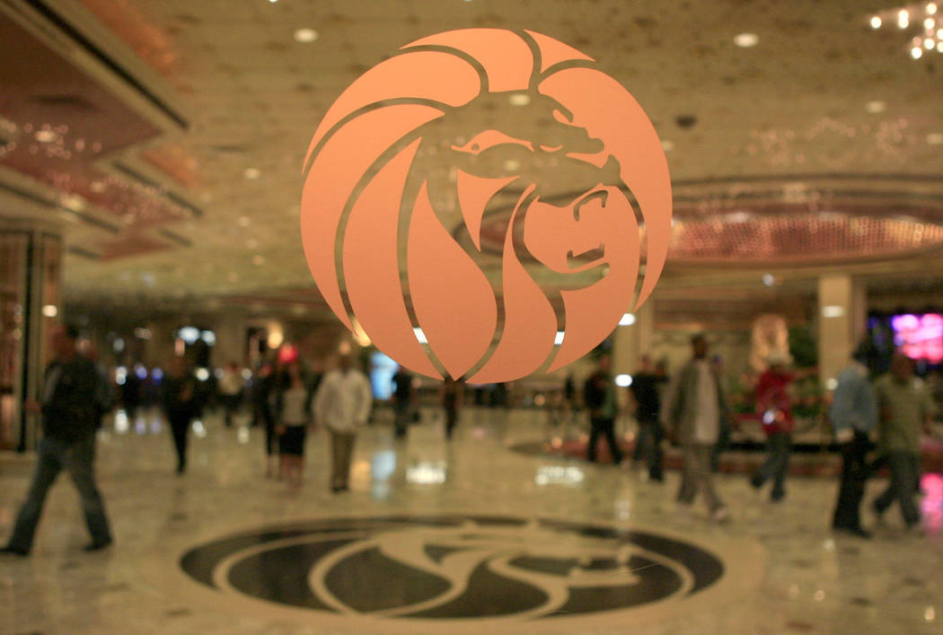 File - In this Feb. 22, 2006 file photo, the MGM logo is seen at the main entrance of MGM Grand hotel-casino in Las Vegas. A panel of federal judges has denied a request from casino operator MGM R ...
