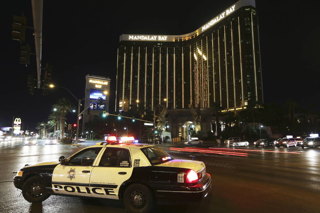Mandalay Bay on the Las Vegas Strip on the anniversary of the 1 October shooting, Monday, Oct. 1, 2018. (Erik Verduzco/Las Vegas Review-Journal)