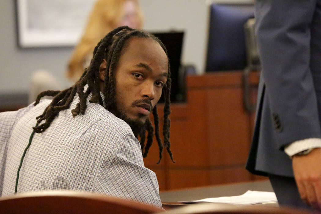 Jemar Matthews appears in court, prior to closing statements in the retrial of his overturned murder conviction, on Tuesday, October 2, 2018. Michael Quine/Las Vegas Review-Journal @Vegas88s