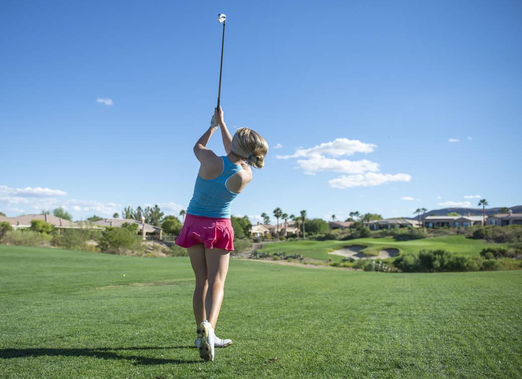 Faith Lutheran High School golfer Morgan Goldstein hits a shot during practice at the Siena Golf Club in Las Vegas, Thursday, Oct. 4, 2018. Caroline Brehman/Las Vegas Review-Journal