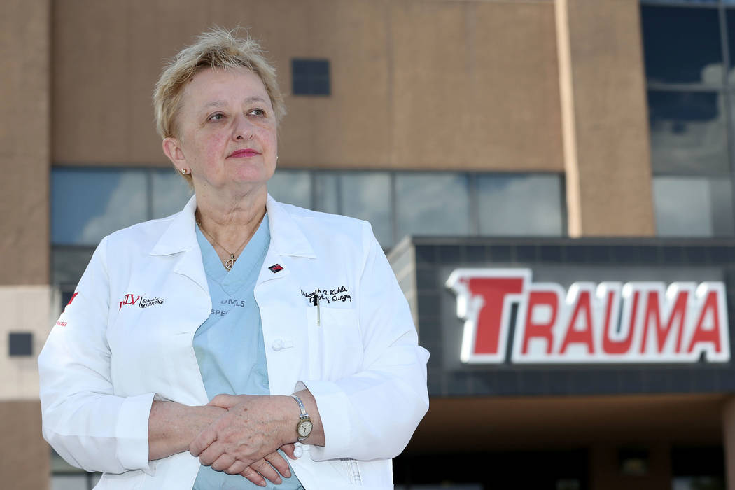 Deborah Kuhls, UNLV professor of surgery and medical director of the Trauma ICU at University Medical Center of Southern Nevada, poses outside of UMC in Las Vegas, Wednesday, Oct. 3, 2018. Erik Ve ...