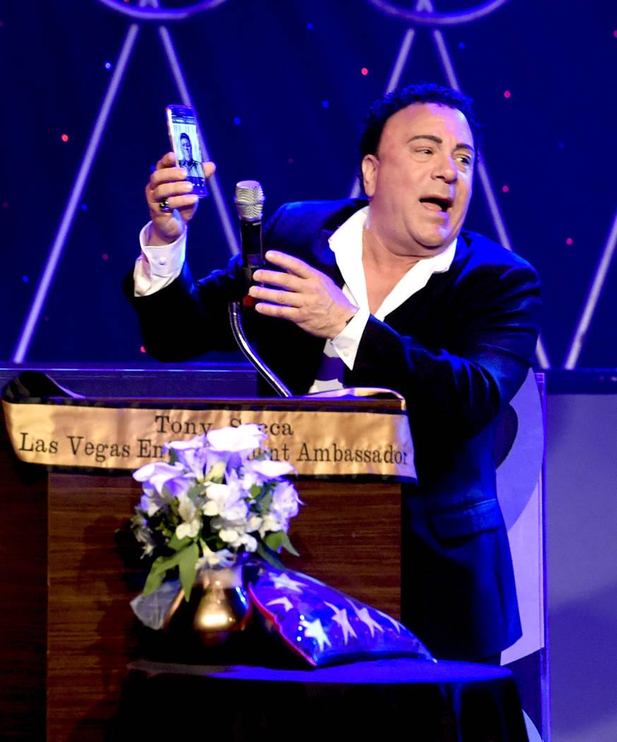 Singer Frankie Scinta speaks during the Tony Sacca Celebration of Life tribute at The Stratosphere Showroom on Monday, Feb. 6, 2017, in Las Vegas. (Glenn Pinkerton/Las Vegas News Bureau)