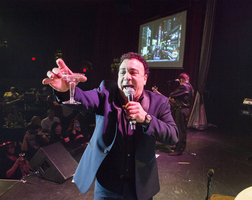 Frankie Scinta with the Scinta's makes a New Year's toast on stage during their show at the Plaza hotel/casino on Saturday, Dec. 31, 2016. Jeff Scheid/Las Vegas Review-Journal Follow @jeffscheid