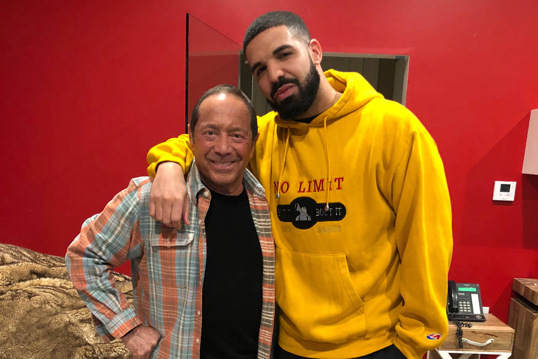 """Paul Anka and Drake are shown after a recording session in February. The collaborated on Drake's """"Don't Matter to Me."""" (Paul Anka Productions)"""