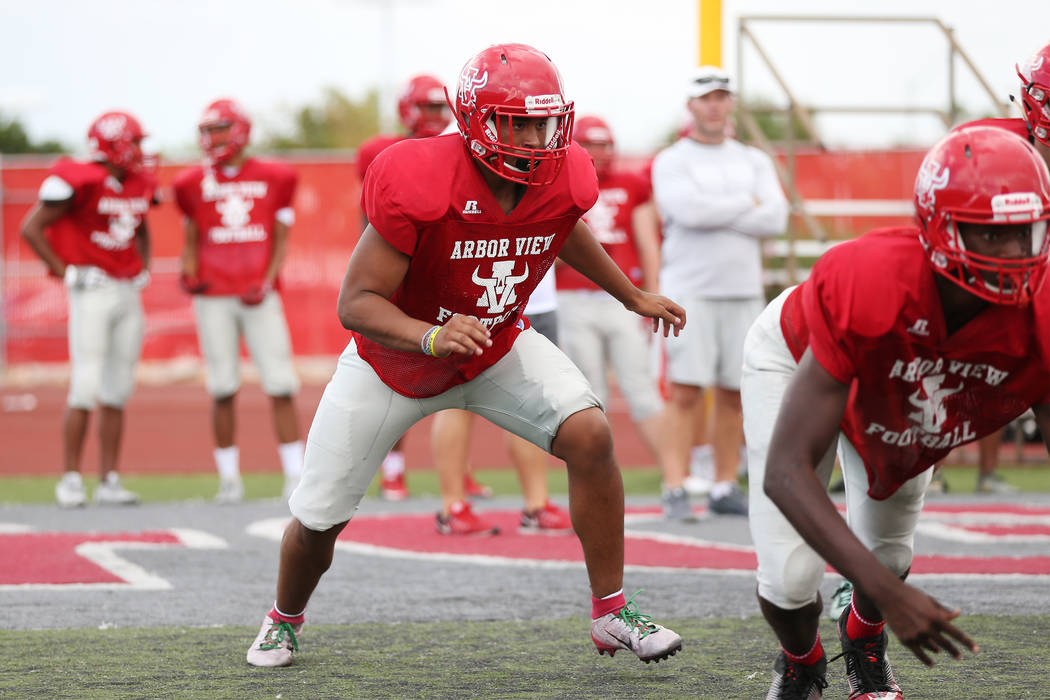 Arbor View's Billy Davis (15) during a team practice at Arbor View High School in Las Vegas, Wednesday, Aug. 15, 2018. Erik Verduzco Las Vegas Review-Journal @Erik_Verduzco