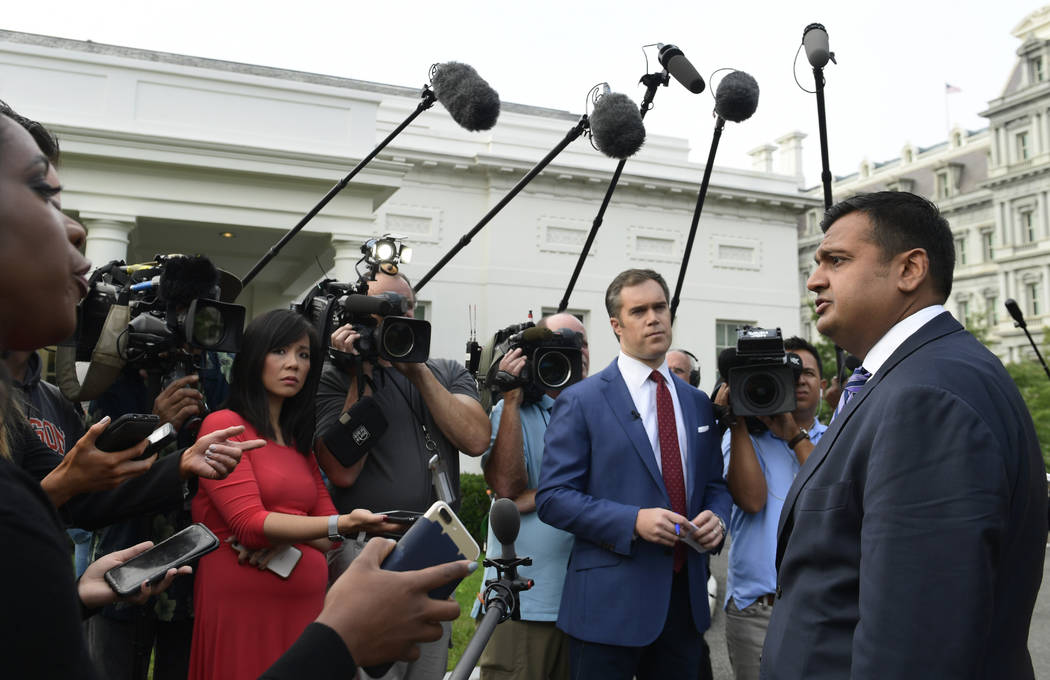 White House spokesman Raj Shah talks to reporters about the FBI investigation of Supreme Court nominee Brett Kavanaugh outside the West Wing of the White House in Washington, Thursday, Oct. 4, 201 ...