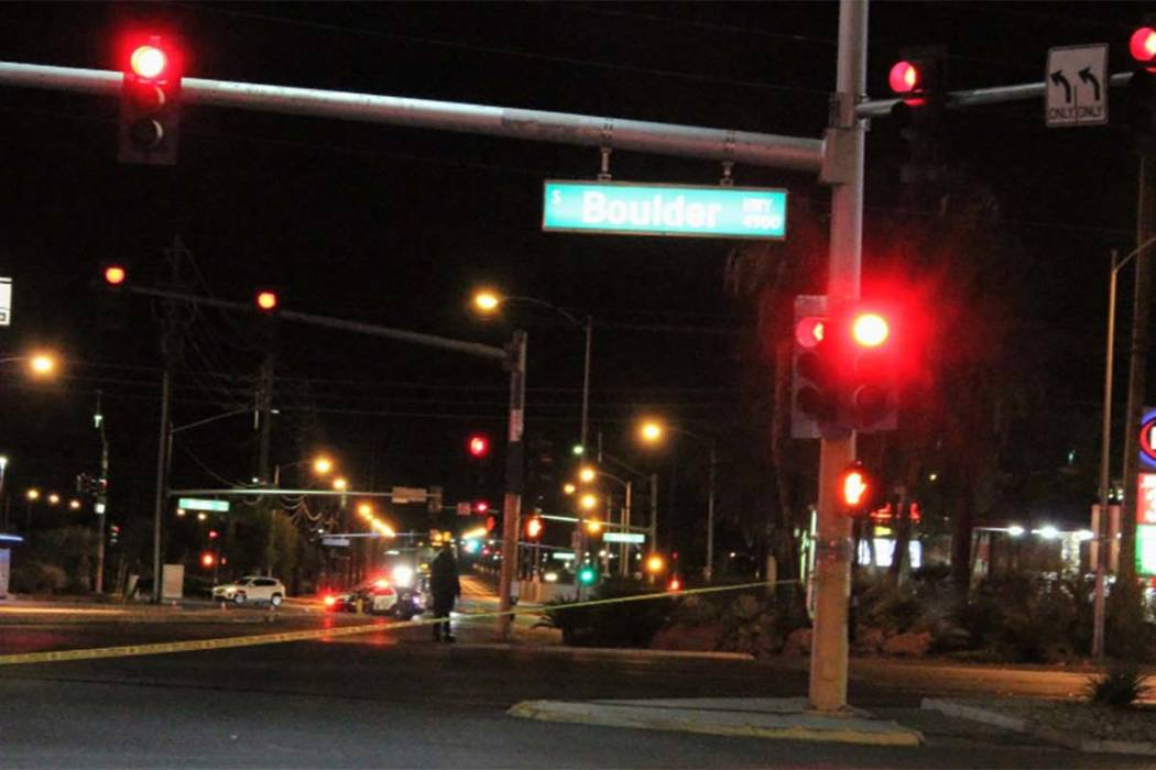 A pedestrian was crossing northbound Boulder Highway near Flamingo Road just after 1 a.m. Wednesday Oct. 4, 2018, when he was struck by a Toyota sedanf
