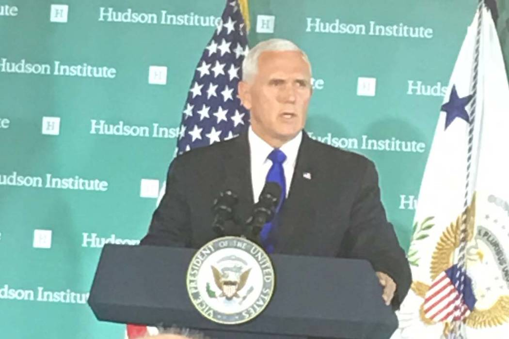 Vice President Mike Pence speaks to the conservative Hudson Institute on Thursday, Oct. 4, 2018. (Debra Saunders/Las Vegas Review-Journal)