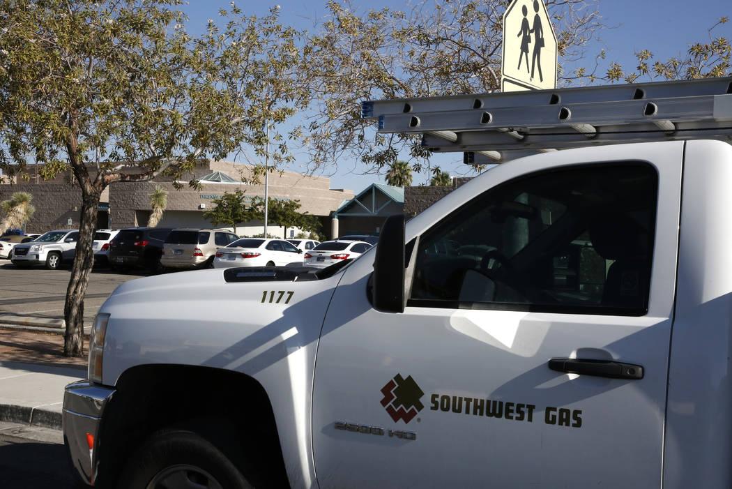 A Southwest Gas truck is seen on Friday, Aug. 17, 2018, in North Las Vegas. (Bizuayehu Tesfaye/Las Vegas Review-Journal) @bizutesfaye