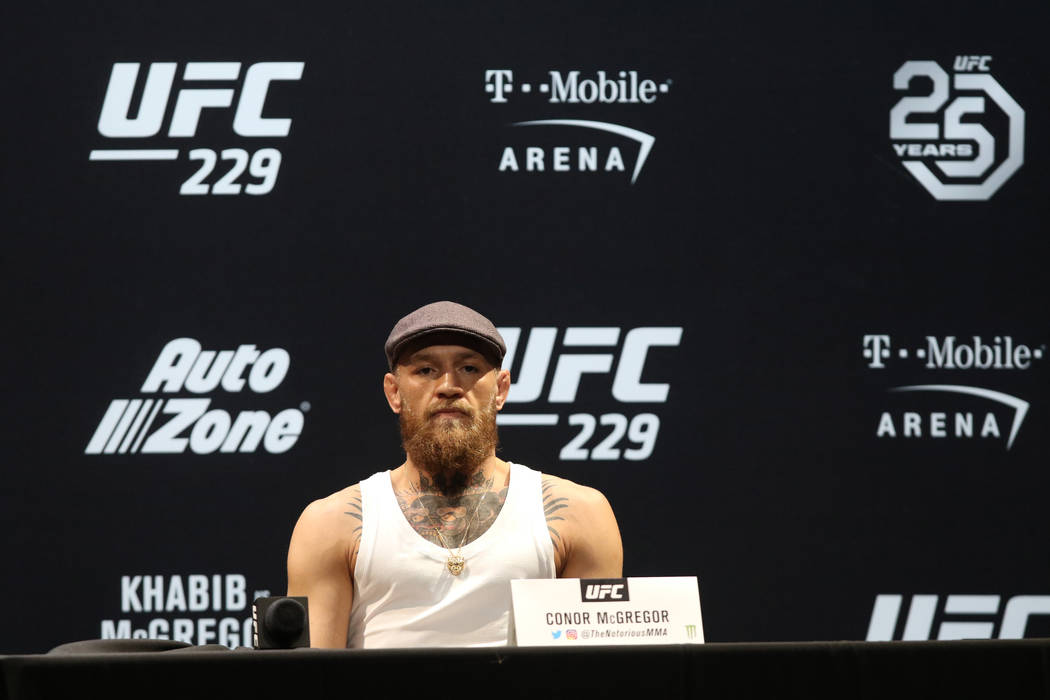 UFC lightweight Conor McGregor at the UFC 229 press conference at the Park Theater in Las Vegas, Thursday, Oct. 4, 2018. McGregor will fight Khabib Nurmagomedov for the lightweight championship in ...