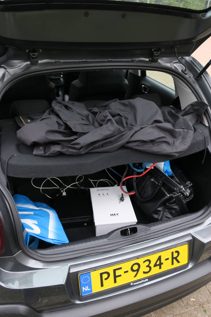 In this image released by the Dutch Defense Ministry on Thursday Oct. 4, 2018, the trunk of a car filled with hacking equipment belonging to four Russian officers of the Main Directorate of the Ge ...