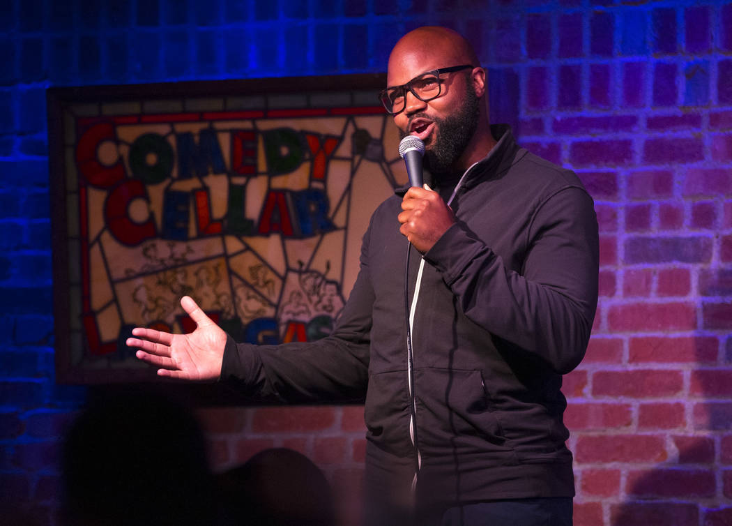Comedian Leo Flowers performs at the Comedy Cellar inside the Rio hotel-casino in Las Vegas on Wednesday, Oct. 3, 2018. Richard Brian Las Vegas Review-Journal @vegasphotograph