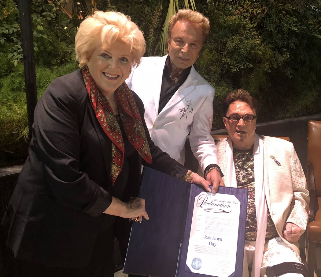 Las Vegas Mayor Carolyn Goodman is shown with Siegfried & Roy at Roy's birthday party at Siegfried & Roy's Secret Garden on Wednesday, Oct. 4 2018. (John Katsilometes/Las Vegas Review-Journal)