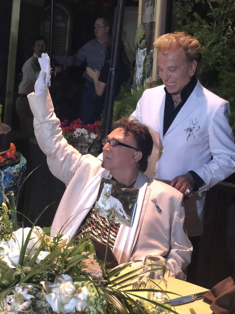 Siegfried & Roy are shown at Roy's birthday party at Siegfried & Roy's Secret Garden on Wednesday, Oct. 4 2018. (John Katsilometes/Las Vegas Review-Journal)