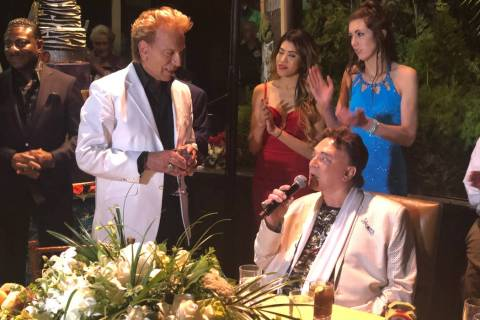 Siegfried & Roy are shown at Roy's birthday party at Siegfried & Roy's Secret Garden on Wednesd ...