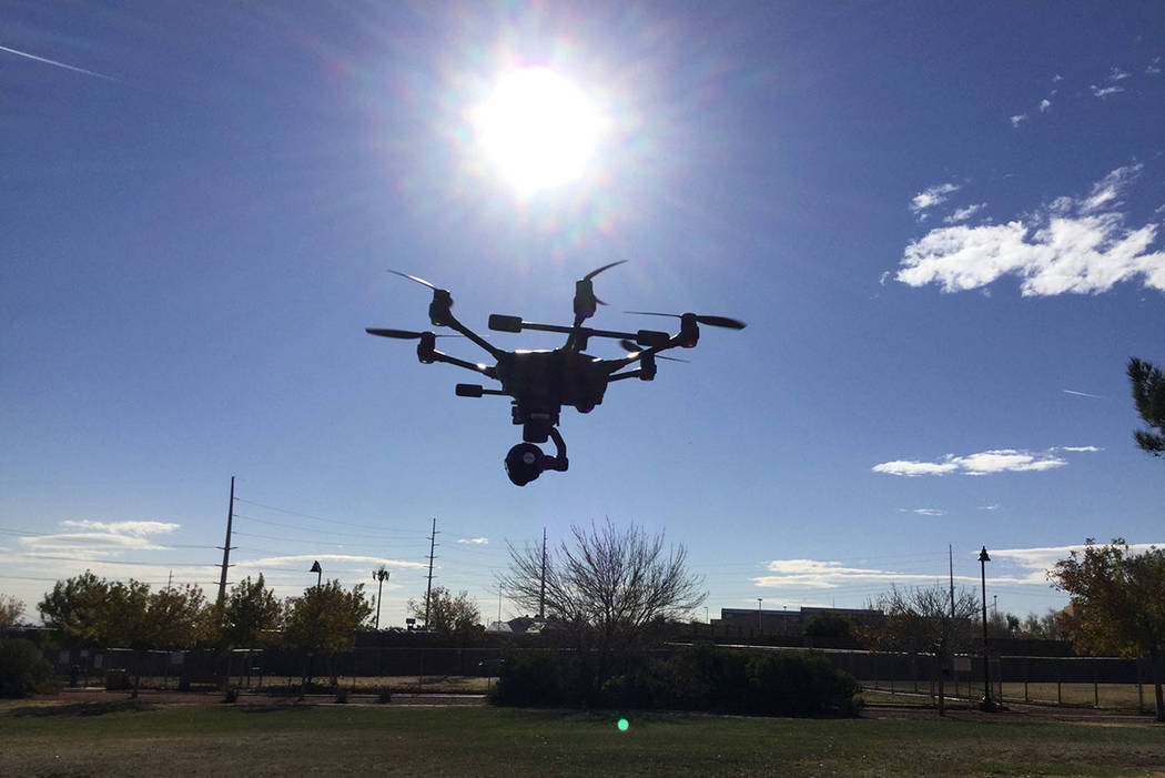 The Metropolitan Police Department purchased five drones from Yuneec. A Metro officer pilots the Yunnec drone used for training purposes in Las Vegas, Wednesday, Dec. 20, 2017. Nicole Raz/Las Vega ...