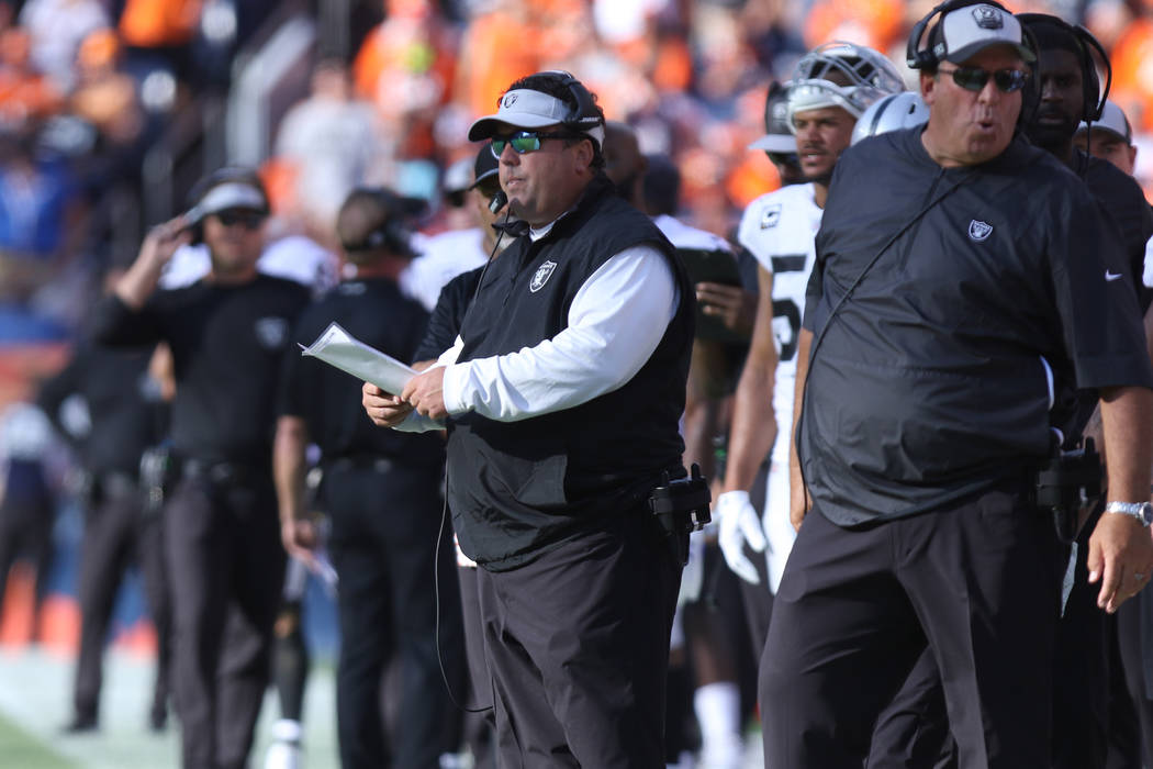 Oakland Raiders defensive coordinator Paul Guenther on the sideline during the second half of their NFL game against the Denver Broncos in Denver, Colo., Sunday, Sept. 16, 2018. Heidi Fang Las Veg ...