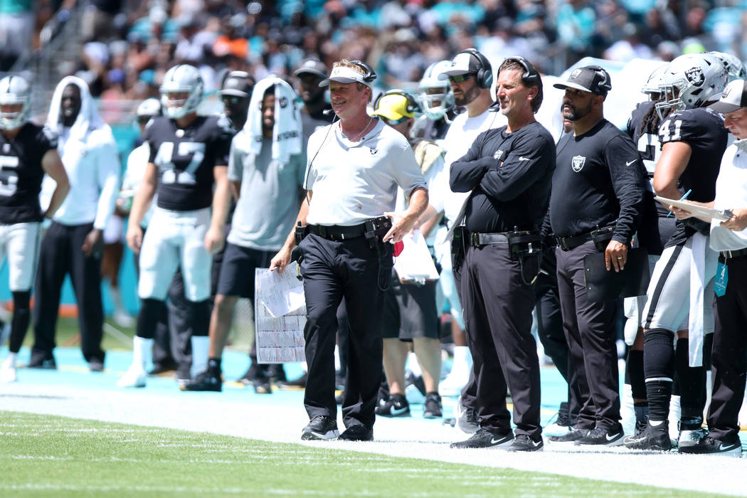 Oakland Raiders head coach Jon Gruden watches the team play against the Miami Dolphins from the sideline during the first half of their NFL game in Miami Gardens, Fla., Sunday, Sept. 23, 2018. Hei ...
