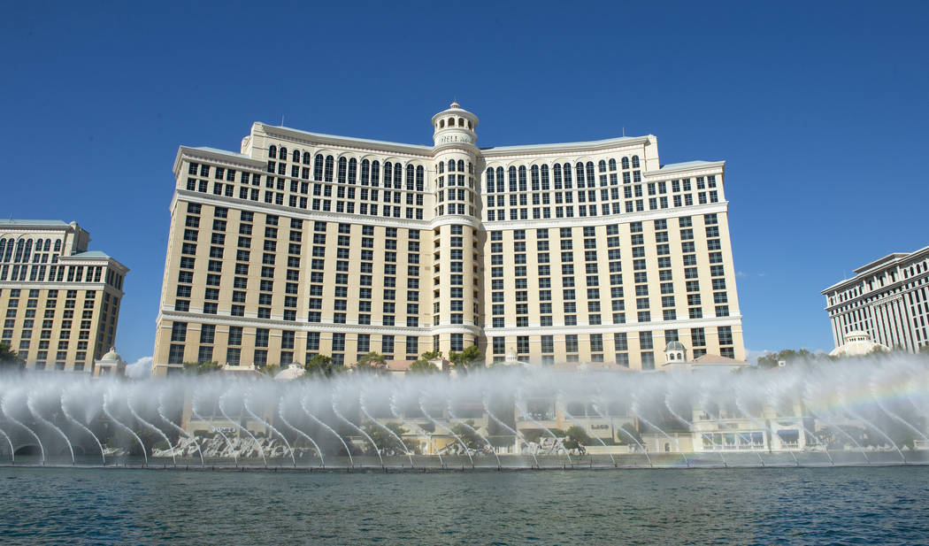Water shows at the Fountains at Bellagio range from every 15 minutes to every half hour depending on the day of the week and time of day in Las Vegas, Wednesday, Oct. 3, 2018. Caroline Brehman/Las ...