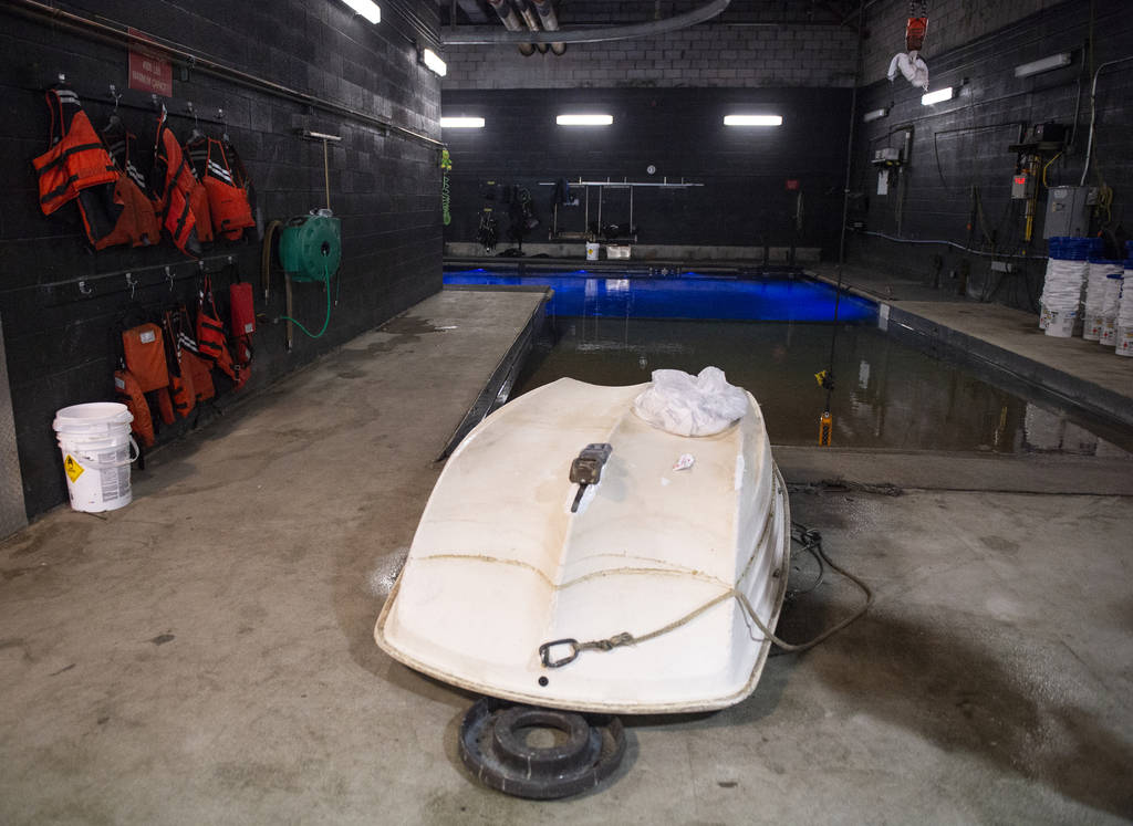 """Boats are stored in the maintenance area for Fountains at Bellagio, nicknamed the """"Batcave"""" in Las Vegas, Wednesday, Oct. 3, 2018. Caroline Brehman/Las Vegas Review-Journal @carolinebrehman"""
