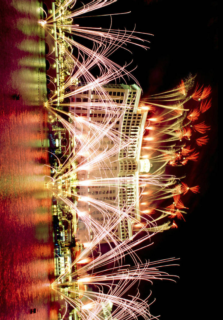 FILE*** Fireworks light up the sky above and around The Bellagio Hotel-Casino on the Las Vegas strip during the grand opening celebration for the casino Sunday, Oct. 18, 1998. (AP Photo/Las Vegas ...
