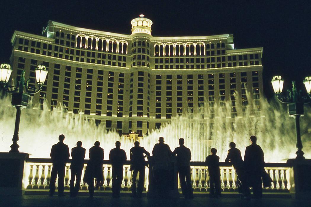 Bellagio fountains featured in Ocean's 11. © 2001 Warner Bros.