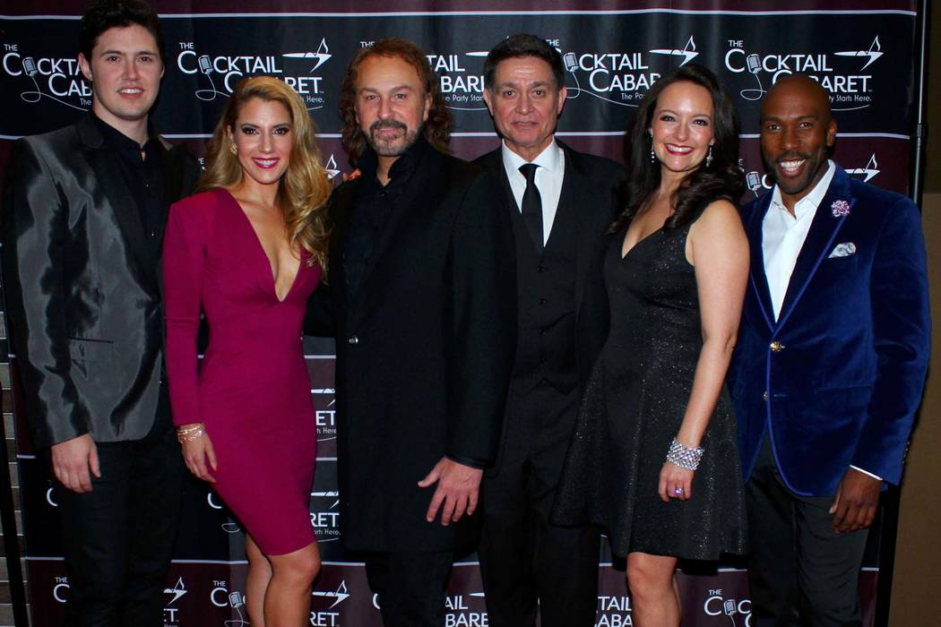 """Daniel Emmet, left, Maren Wade, Philip Fortenberry, Keith Thompson and Niki Scalera are shown at the opening of """"The Cocktail Cabaret"""" at Caesars Palace on Dec. 17, 2017. (Ira Kuzma)"""