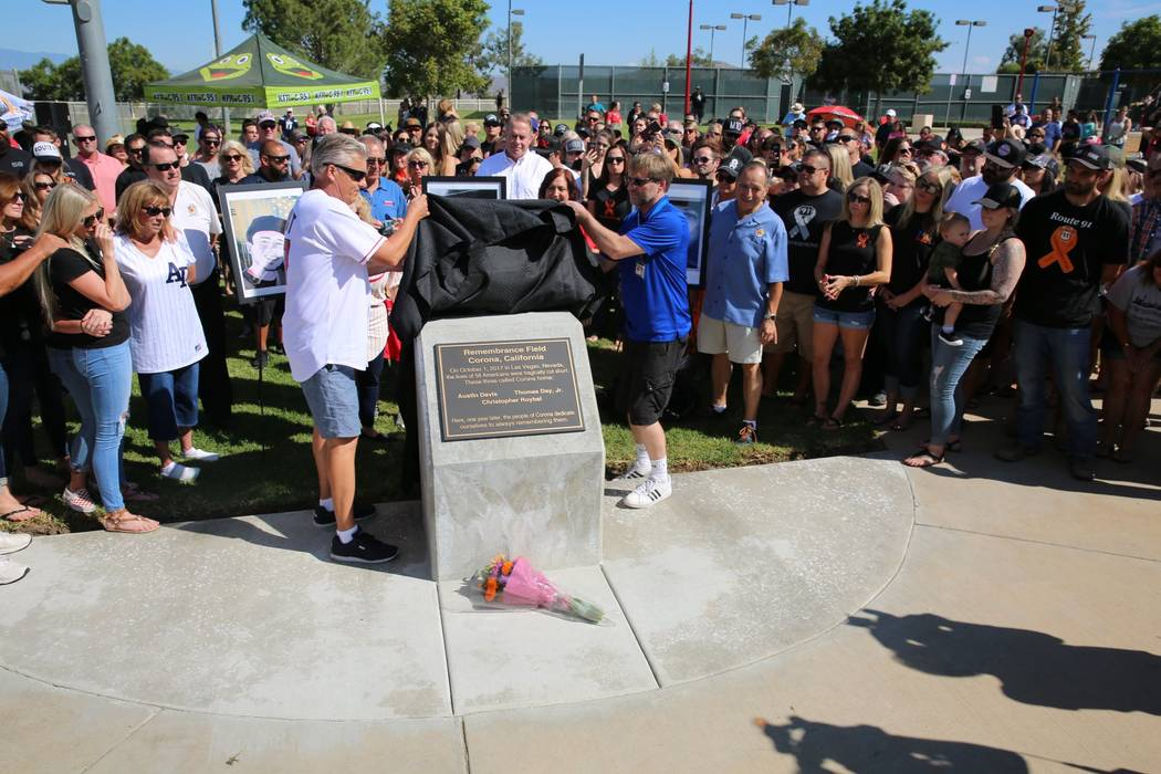 A community baseball field in Corona, California, is dedicated on Sept. 30, 2018, to the 58 people killed in the Las Vegas mass shooting, including three victims who were from Corona. (City of Corona)